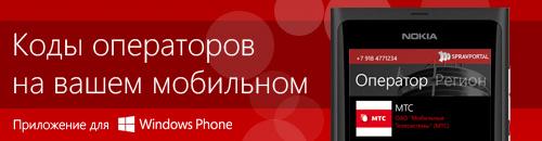 Мобильное приложение Телефонные коды